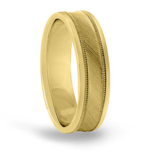 14kt Gold Mens Band Fancy Carved 6MM