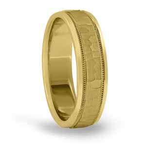 14kt Gold Mens Band Hammered Finish 6MM