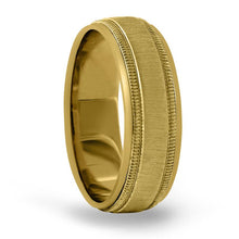 14kt Gold Mens Band Basic Carved 6MM