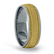 14kt Gold Mens Band Basic Carved 8MM
