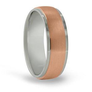 14kt Gold Mens Band Basic Carved 7MM