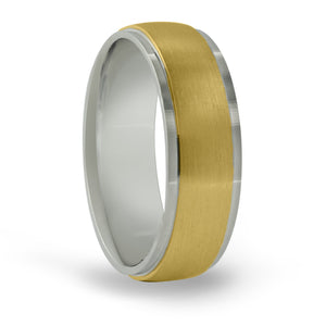 14kt Gold Mens Band Basic Carved 7MM-TT