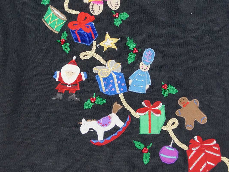 Christmas Sweater - Black with Ornaments