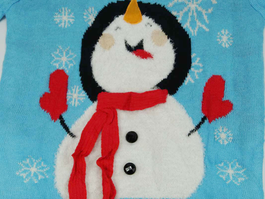 Christmas Sweater - Blue with Snowman