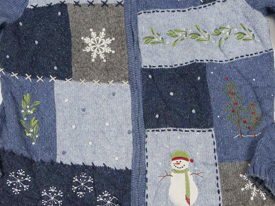 Christmas Sweater - Blue Squares with Snowflakes, and Snowman