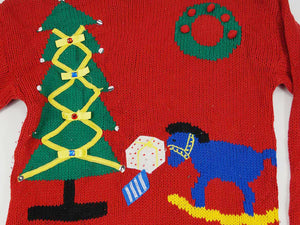 Christmas Sweater -  Red with Christmas Tree