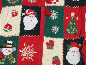 Christmas Sweater - Red with Green, White, and Black Squares