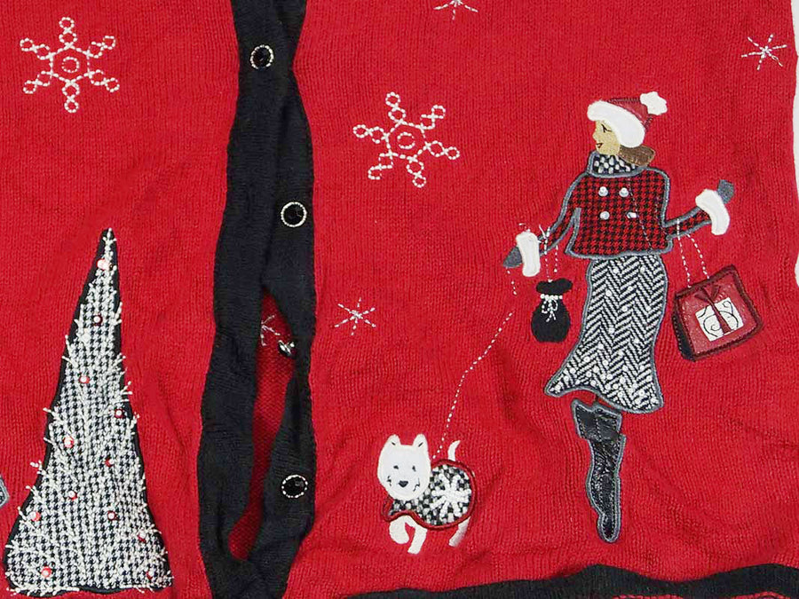 Christmas Sweater - Red with Lady