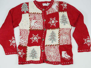 Christmas Sweater - Red & White Squares of Ice Skates, Christmas Trees, Snowflakes