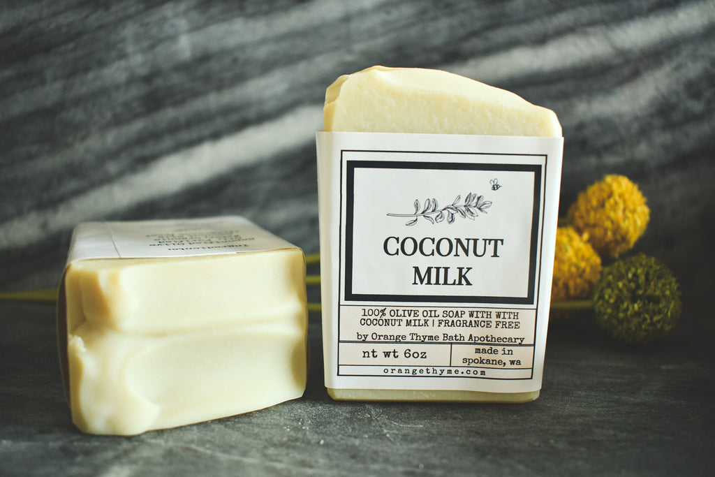 Coconut Milk -100% Olive Oil Soap (Castile, unscented)