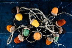 Copy of Handmade Felted Wool Acorn  GARLAND 12 Acorns (Autumn Themed)