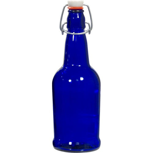 12 PACK 16 oz. Swing Top Cobalt Blue Bottles for Homebrew, Kombucha, Water Bottles - Chef Star Grolsch Style