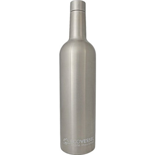 Triple insulated EcoVessel The Vine Wine Bottle (Stainless Steel) - 25 oz.