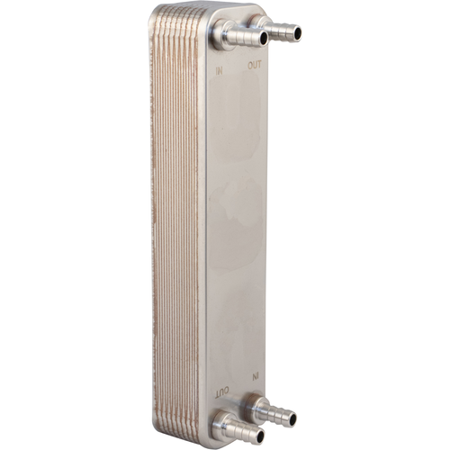 "20 Plate Homebrew Beer Wort Chiller Stainless Steel & Brazed Copper Heat Exchanger 1/2"" Barb Fitting - 12.4"" L x 2.9"" W x 2"" H"