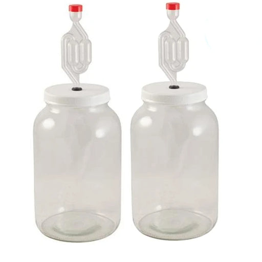2 PACK Home Brew Wide Mouth Fermentation Jar with Drilled Lid & Twin Bubble Airlock