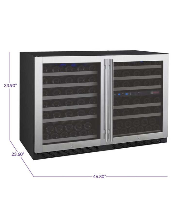 FlexCount Series 112 Bottle Three-Zone Side by Side Wine Refrigerator (3595471683664)