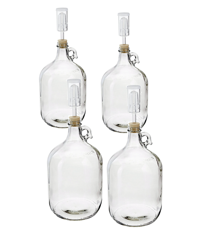 4 PACK - 1 Gallon Fermentation Kit includes Glass Fermenter Jug Carboy with Handle, Rubber Stopper & 3-Piece Airlock