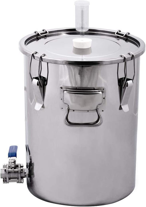 7 Gallon Stainless Steel Dual Purpose Univessel Ported Brew Kettle Fermenter with 3 Piece Ball Valve - includes Airlock and Stopper - ST07VH