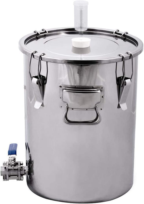 14 Gallon Stainless Steel Univessel Ported Fermenter with 3 Piece Ball Valve - includes Airlock and Stopper - ST14VH