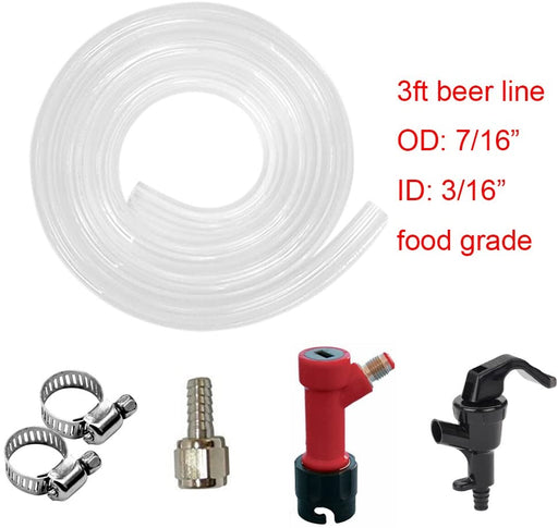 3/16 inch Pin Lock Beer Line Assembly, Picnic Tap with 5ft Beer Line for Home Brewing