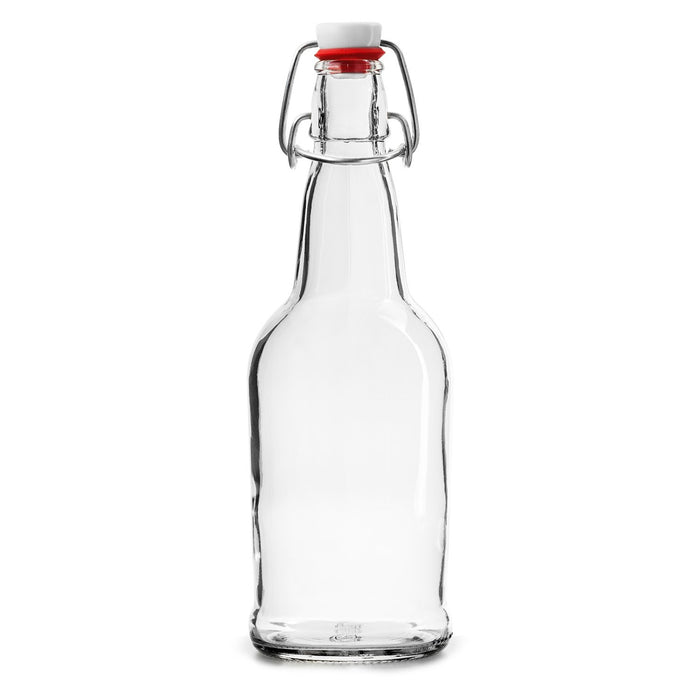 12 PACK 16 oz. Swing Top Clear Bottles for Homebrew, Kombucha, Water Bottles - Chef Star Style