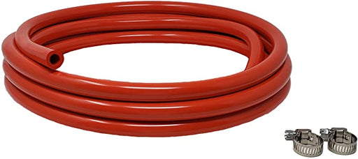 "CO2 Gas Line Assembly 5/16-Inch ID, 9/16-Inch OD Food Grade Vinyl Tubing, 5 FT CO2 Gas Line with 2 Hose Clamps, for Homebrewing, Kegerator, Draft Systems, Beer Air Hose, 1/4"" Wall Thickness"