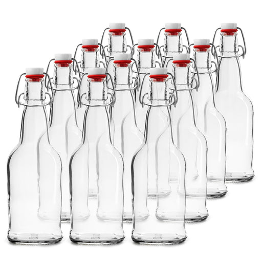 12 PACK 16 oz. Swing Top Clear Bottles for Homebrew, Komucha, Water Bottles