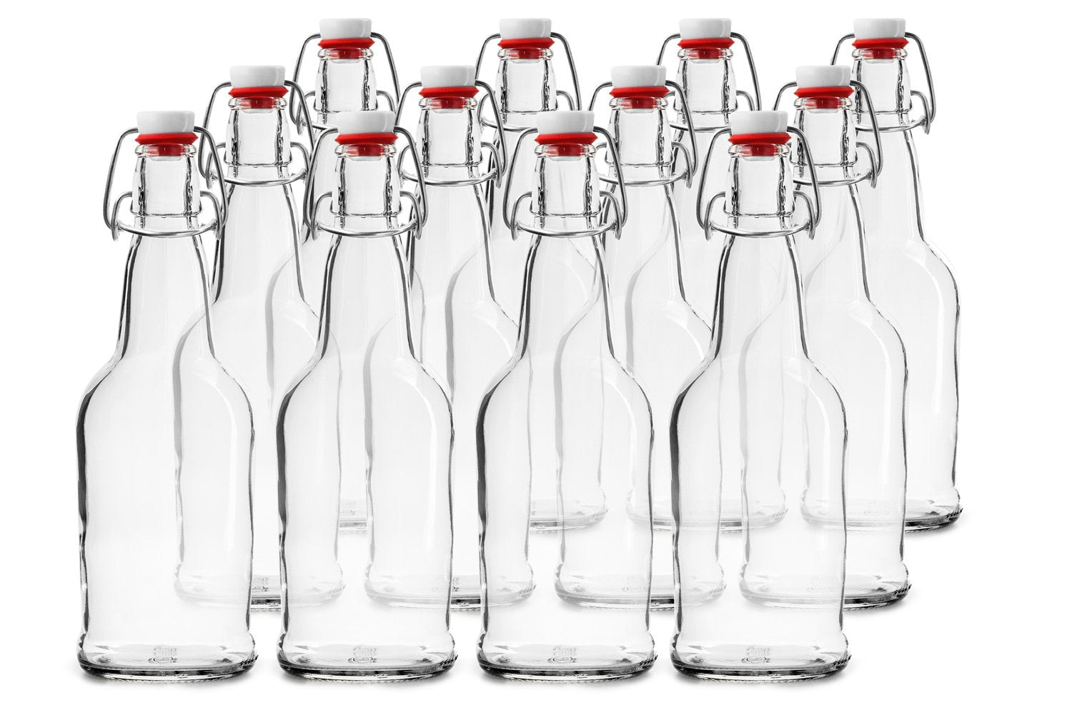 12 PACK 32 oz. Swing Top Clear Bottles