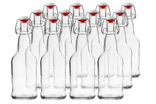 12 PACK 32 oz. Swing Top Clear Bottles for Homebrew, Kombucha, Water Bottles - Chef Star Style