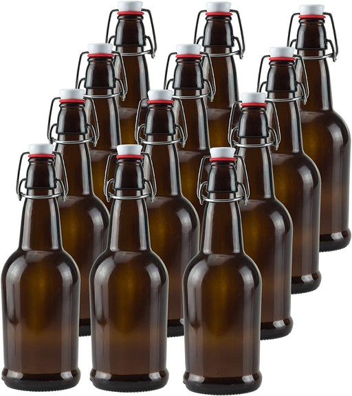 12 PACK 32 oz. Amber Homebrew Swing Top Flip Cap Chef Star Grolsch Style Bottles