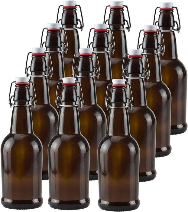 12 PACK 32 oz. Swing Top Amber Bottles