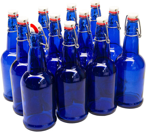 12 PACK 32 oz. Swing Top Cobalt Blue Bottles for Homebrew, Kombucha, Water Bottles - Chef Star Grolsch Style