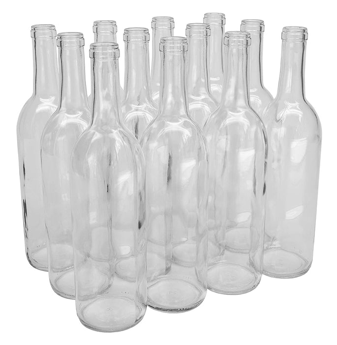 Case of 12 - 750 mL Clear Bordeaux Wine Bottles