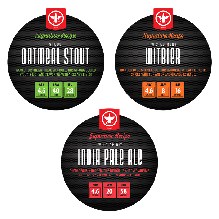 Signature Variety 3-Pack Recipe Kit with Oatmeal Stout, Witbier & IPA Ingredient Kits
