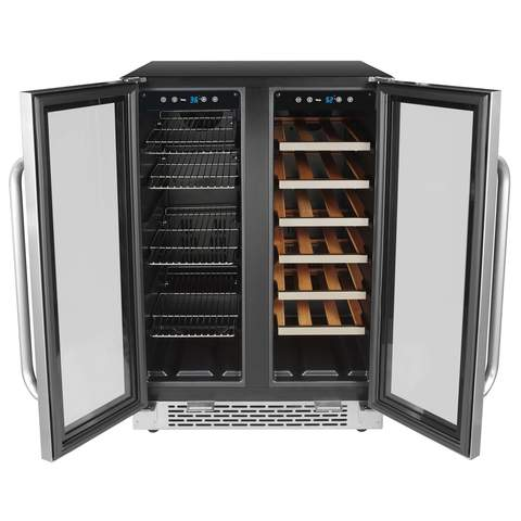 "Whynter 24"" Built-In French Door Dual Zone 20 Bottle Wine 60 Can Beverage Cooler (3610579730512)"
