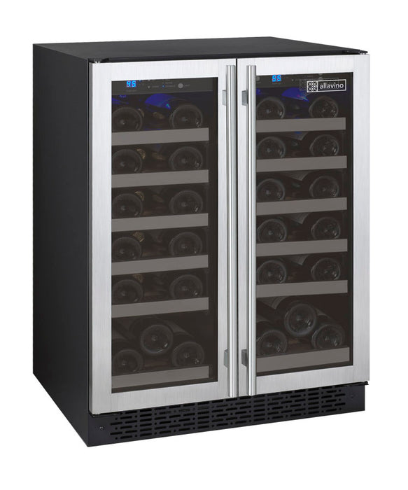 FlexCount Series 36-Bottle Dual-Zone Wine Refrigerator - Stainless Steel French Doors (3594913415248)