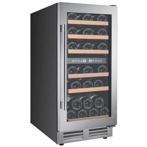 "28-Bottle Dual Zone Wine Cooler - 15"" - Black/Stainless Steel"
