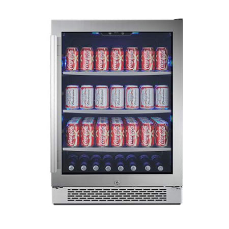 24 Inch Wide 140 Can Energy Efficient Beverage Center with LED Lighting, Double Pane Glass, Touch Control Panel and Lockable Right Swing Door (3622673711184)