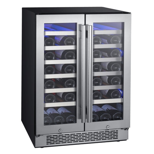 "42 Bottle 24"" Built-In Dual Zone French Door Wine Cooler (3604368097360)"