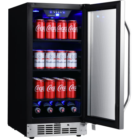 15 Inch Wide 80 Can Built-In Beverage Cooler with Blue LED Lighting (3622673875024)