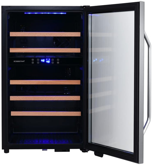19 Inch Wide 38 Bottle Capacity Free Standing Wine Cooler with Dual Zones, LED Lighting and Reversible Door (3604367999056)