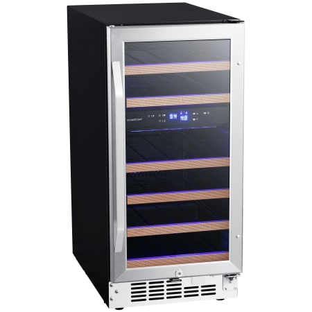 15 Inch Wide 26 Bottle Built-In Dual Zone Wine Cooler with Reversible Door and LED Lighting (3622676267088)