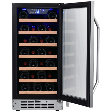 15 Inch Wide 30 Bottle Built-In Single Zone Wine Cooler with Reversible Door and LED Lighting (3622676070480)