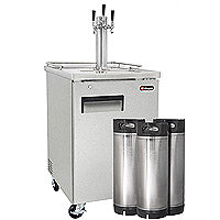 Kegco Three Tap Commercial Home Brew Kegerator with Kegs - Stainless Steel (3607820304464)
