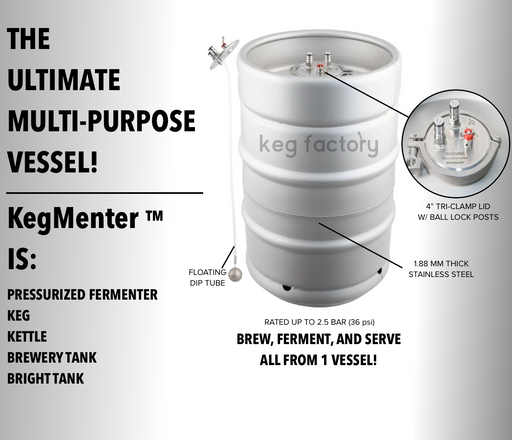 29L / 7.6 Gallon KegMenter Multi-Use Pressurized Fermentation Keg