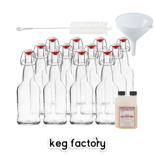 Kombucha Bottling Kit for Secondary Fermentation (includes 12 - 16oz Swing Top Bottles, Funnel, Bottle Brush, 8oz StarSan No Rinse Sanitizer