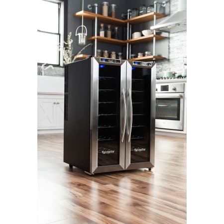 32 Bottle Free Standing Dual Zone Wine Cooler w/ French Doors (3622675611728)