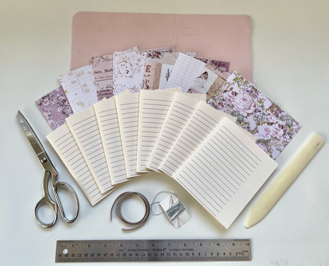 Medium DIY Pink Leather Journal Kit - Refillable, Lined, Dot, or Blank Paper