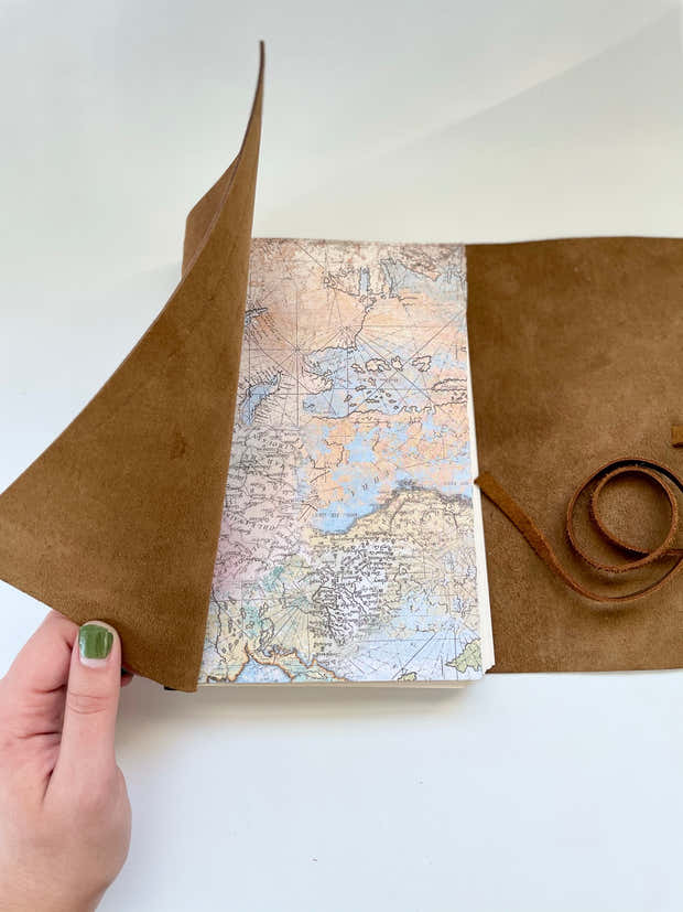 9x6 Large Map Style Travel Journal 1