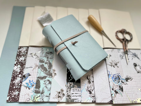 Small DIY Sky Blue Leather Journal Kit